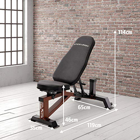 Image of Steelbody Deluxe 6 Position Utility Weight Bench for Weightlifting and Strength Training STB-10105, Black-Brown - FitnessGearUSA.Com