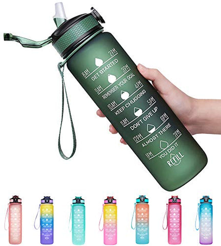 Image of Giotto 32oz Large Leakproof BPA Free Drinking Water Bottle with Time Marker & Straw to Ensure You Drink Enough Water Throughout The Day for Fitness and Outdoor Enthusiasts-Hunter Green - FitnessGearUSA.Com