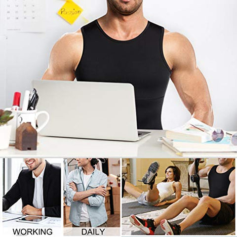 Image of Mens Compression Shirt Slimming Body Shaper Vest Workout Tank Tops Abs Abdomen Undershirts(Black, XL) - Fitness Gear