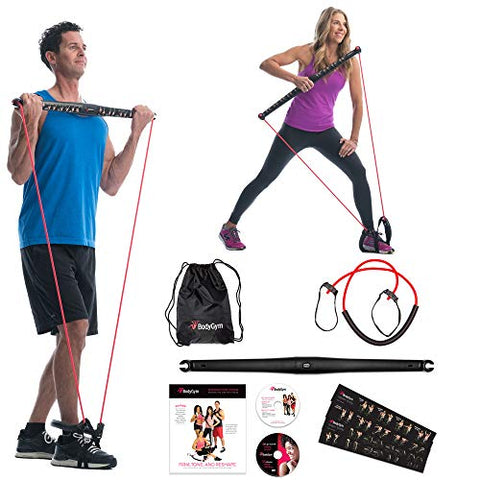 Image of Bodygym Core System Portable Home Gym - Resistance Trainer All-in-One Band + Bar Kit, Full Body Workout: Improve Fitness, Build Muscle, Strength Exercises with Marie Osmond Workout DVD Included - FitnessGearUSA.Com