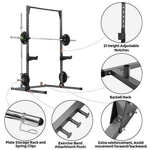 Image of Kicode Power Squat Rack, Heavy Duty Squat Stand Weight Lifting Workout Station, Adjustable Exercise Power Cage with Pull Up Bar for Home Gym - FitnessGearUSA.Com