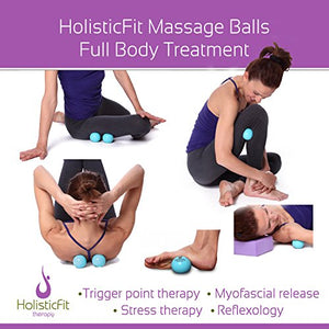 HolisticFit Yoga Balls Massage Set+FREE Hands and Feet Mini Ball.Yoga Pilates Therapy Balls for Instant Muscle Pain Relief, Trigger Point Treatment and Myofascial Release, Manual massage balls(Purple) - FitnessGearUSA.Com