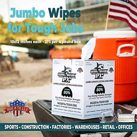 "Image of Germ Shark PX4 Sanitizing Wipes - 80% Alcohol Wipes for Hand Sanitizing - 1 Roll Jumbo Size (10x12"") - 275 Bulk Pack Hand Sanitizer Wipes - Made in USA w/Ethyl Alcohol - Fitness Gear"