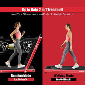 Goplus 2 in 1 Folding Treadmill, 2.25HP Under Desk Electric Treadmill, Installation-Free, with Bluetooth Speaker, Remote Control and LED Display, Walking Jogging Machine for Home/Office Use (Red) - FitnessGearUSA.Com