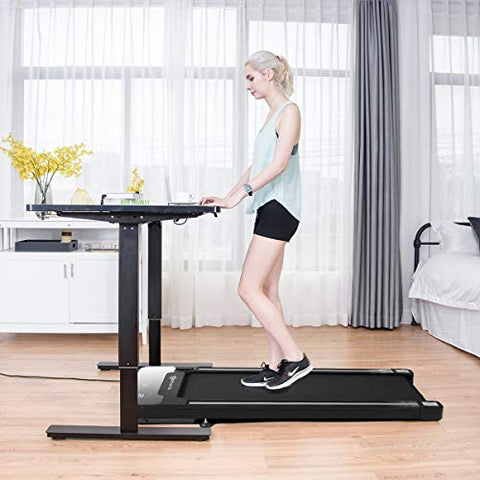 Image of Goplus Under Desk Electric Treadmill, with Touchable LED Display and Wireless Remote Control, Built-in 3 Workout Modes and 12 Programs, Walking Jogging Machine for Home/Office - Fitness Gear