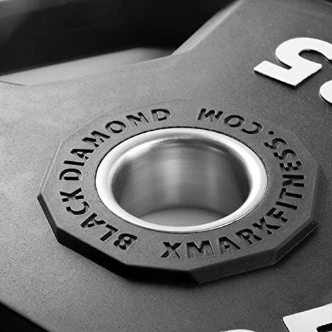 Image of XMark Black Diamond 45 lb Olympic Weight Plates, Patented Design, One Pair - FitnessGearUSA.Com