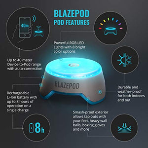 BlazePod Flash Reflex Lights and Reaction Training System, Challenging Activities to Improve Speed and Agility - for Athletes, Martial Arts, Soccer, Boxing, Basketball, Coaches and Trainer (4 Pods) - Fitness Gear