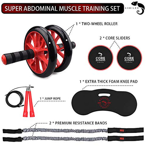 Image of Kamileo Ab Roller Wheel, 5-in-1 Ab Roller Kit with Knee Pad, Resistance Bands, Jump Rope, Core Sliders, Perfect Home Gym Equipment for Abdominal Exercise (Workout Guide Included) - Fitness Gear