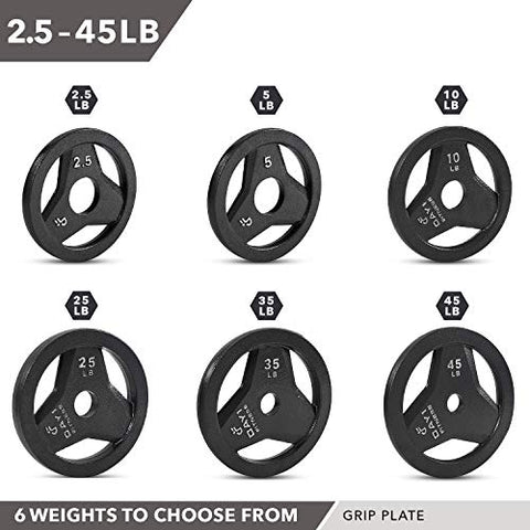"Image of Day 1 Fitness Cast Iron Olympic 2-Inch Grip Plate for Barbell, 2.5 Pound Set of 2 Plates Iron Grip Plates for Weightlifting, Crossfit - 2"" Weight Plate for Bodybuilding - FitnessGearUSA.Com"