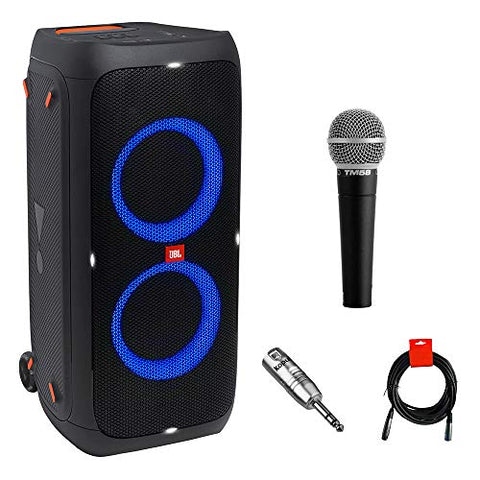 Image of JBL PartyBox 310 Portable Bluetooth Speaker (Party Lights) Bundle with Vocal Microphone, XLR Barrel Adapter & XLR Cable - Fitness Gear