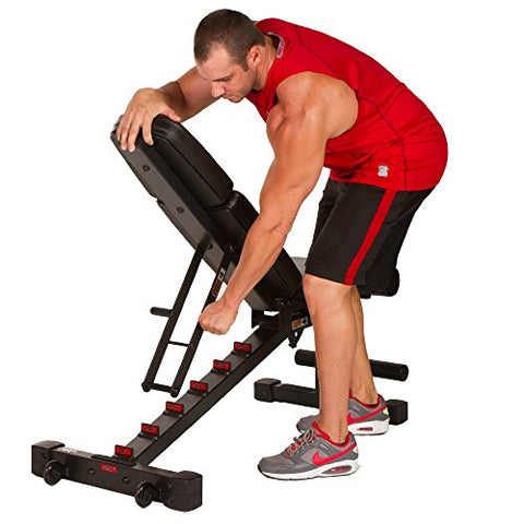 Image of XMark Power Series Adjustable Flat Incline Decline Bench, 1500 lb. Wgt Capacity, 7 Back Pad Positions From Decline at -20 degrees To Incline of 85 degrees, and 3 Ergonomical Seat Pad Positions XM-9010 - Fitness Gear
