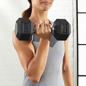 AmazonBasics Rubber Encased Hex Dumbbell Weight - 12 x 4.9 x 4.4 Inches, 20 Pounds, Pack of 1 - Fitness Gear