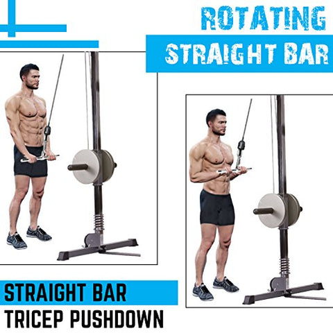 Image of A2ZCARE Combo Tricep Press Down Cable Attachment | Multi-Option: Double D Handle, V-Shaped Bar, Tricep Rope, Rotating Straight Bar (V Handle+Tricep Rope+Rotating Bar+V-Shaped Bar) - Fitness Gear