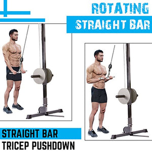 A2ZCARE Combo Tricep Press Down Cable Attachment | Multi-Option: Double D Handle, V-Shaped Bar, Tricep Rope, Rotating Straight Bar (V Handle+Tricep Rope+Rotating Bar+V-Shaped Bar) - Fitness Gear