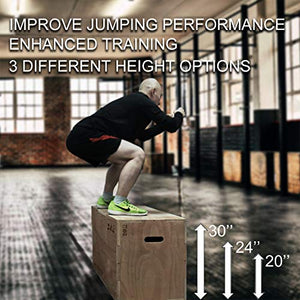 "JacMok Wood Plyometric Box for Exercise 3-in-1 Jumping Box 30""x24""x20"" with Sanded Handle, Rounded Corners, Heavy Duty, Training - FitnessGearUSA.Com"