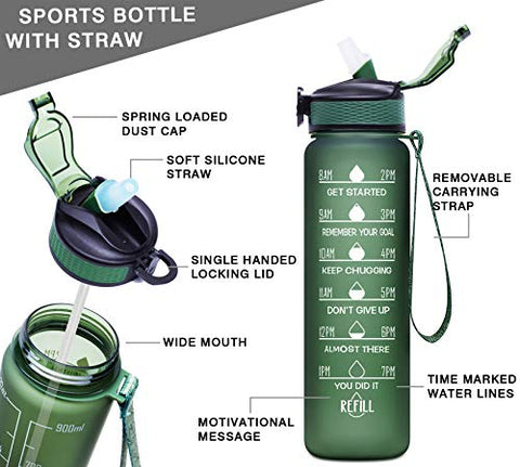 Image of Giotto 32oz Large Leakproof BPA Free Drinking Water Bottle with Time Marker & Straw to Ensure You Drink Enough Water Throughout The Day for Fitness and Outdoor Enthusiasts-Hunter Green - Fitness Gear