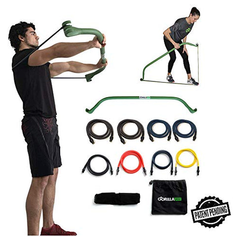 Image of Gorilla Bow Portable Home Gym Resistance Band System, Weightlifting and HIIT Interval Training Kit, Full Body Workout Equipment (Green, Heavy Original Size) - FitnessGearUSA.Com