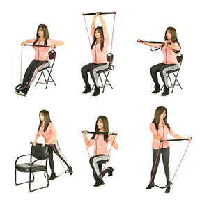 Bodygym Core System Portable Home Gym - Resistance Trainer All-in-One Band + Bar Kit, Full Body Workout: Improve Fitness, Build Muscle, Strength Exercises with Marie Osmond Workout DVD Included - FitnessGearUSA.Com