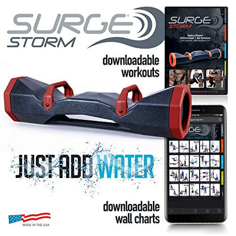 "Image of Surge Storm 40 Water Filled Adjustable Weight Tube, Home Gym Equipment, 42"" - Black/Red - Fitness Gear"