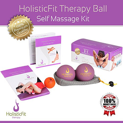 Image of HolisticFit Yoga Balls Massage Set+FREE Hands and Feet Mini Ball.Yoga Pilates Therapy Balls for Instant Muscle Pain Relief, Trigger Point Treatment and Myofascial Release, Manual massage balls(Purple) - FitnessGearUSA.Com