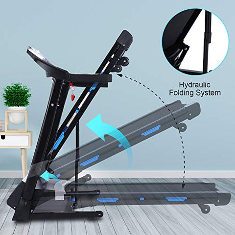 ANCHEER Folding Treadmill, Electric Automatic Incline, Heavy-Duty Steel Frame Treadmills with Sports APP and Audio Speakers, Indoor Walking Running Exercise Machine for Home Gym Office Workout - FitnessGearUSA.Com