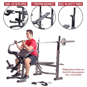 Body Champ BCB5860 Olympic Weight Bench with Preacher Curl, Leg Developer and Crunch Handle, Dark Gray/Black - FitnessGearUSA.Com