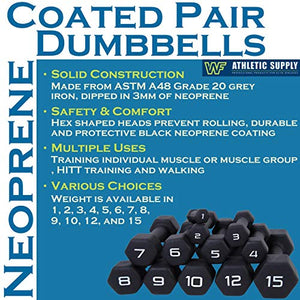 WF Athletic Supply Black Neoprene Dumbbell Set, Non-Slip, Hex Shape, Free Weights Set for Muscle Toning, Strength Building, Weight Loss - Portable Weights for Home Gym Hand Weight - Fitness Gear