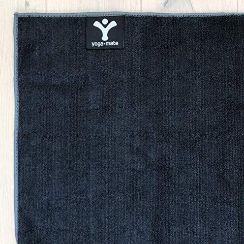 Image of The Perfect Yoga Towel - Super Soft, Sweat Absorbent, Non-Slip Bikram Hot Yoga Towels | Perfect Size for Mat - Ideal for Hot Yoga & Pilates! (Black w/Grey Trim) - Fitness Gear