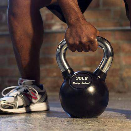 Chrome Handle, Rubberized Kettle Bell Set 5-30 Singles, w GDKR50 - Fitness Gear
