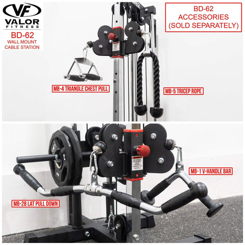 Image of Valor Fitness BD-62 Wall Mount Cable Station - Fitness Gear