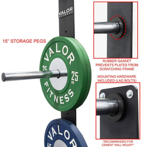 Peg Wall mounted bumper plate storage - FitnessGearUSA.Com