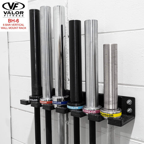 Image of Vertical Wall Mount 6-Bar Storage Rack - Fitness Gear