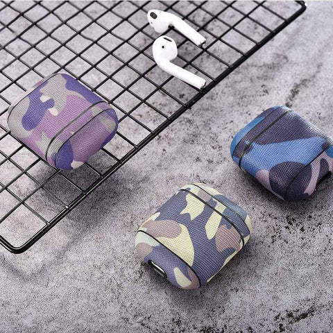 Camouflage Leather Case For Apple Airpods Airpod Dust-proof Protective Cover