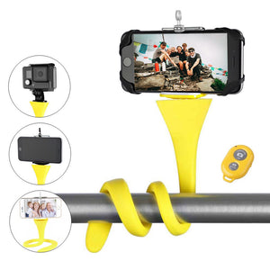 Flexible selfie stick monopod wireless Bluetooth tripod monkey holder - Fitness Gear