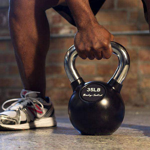 Chrome Handle, Rubberized Kettle Bell Set 5-50 Singles - Fitness Gear