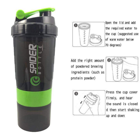 Image of Sports Shaker Bottle Whey Protein Powder Mixing - Fitness Gear