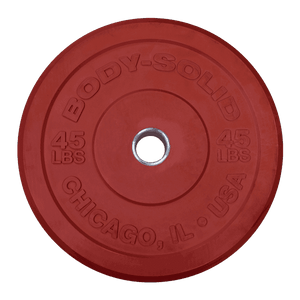 "45LB Chicago Extreme Bumper Plate, 17.72"", FULL COMMERCIAL (Red) - FitnessGearUSA.Com"