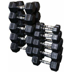 Rubber Hex Dumbell 105-120lb pairs - Fitness Gear