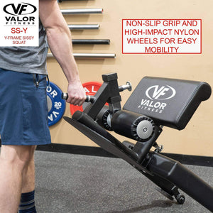 Sissy Squat Machine Bench with Wheels - FitnessGearUSA.Com