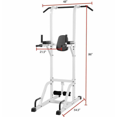Image of Back - XMark VKR Vertical Knee Raise With Dip And Pull-up Station Power Tower XM-4432-WHITE