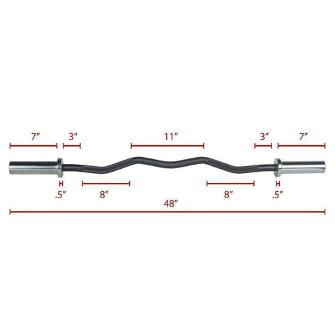 Image of XMark Chrome Olympic EZ Curl Bar XM-3670.1-BLACK - Fitness Gear