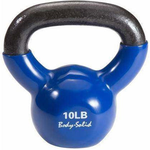 Vinyl Coated Kettle Bells Set, One Each 5,8,10,12,15,20, with GDKR50 - Fitness Gear