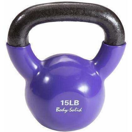 Image of Vinyl Coated Kettle Bells Set, One Each 5,8,10,12,15,20, with GDKR50 - Fitness Gear