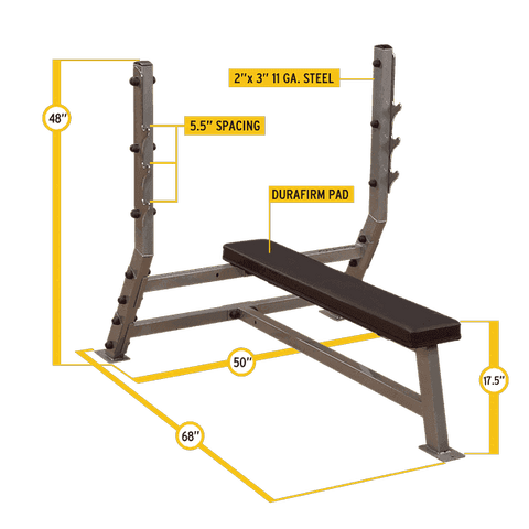Image of Deluxe Flat Olympic Bench - FitnessGearUSA.Com