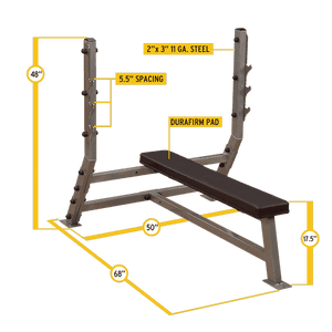 Deluxe Flat Olympic Bench - FitnessGearUSA.Com