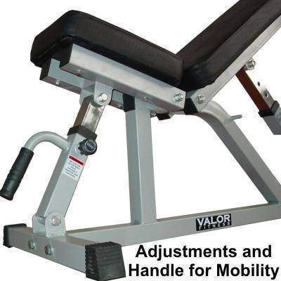 Image of Valor Fitness DD-21 Incline/Flat Utility Bench W/Wheels - Fitness Gear
