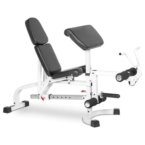 Bench - XMark FID Flat Incline Decline Weight Bench With Leg Extension And Preacher Curl XM-4419-WHITE