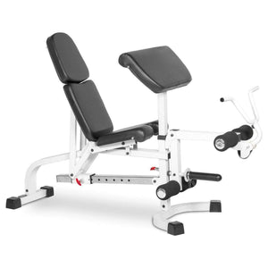 XMark FID Flat Incline Decline Weight Bench with Leg Extension and Preacher Curl XM-4419-WHITE - FitnessGearUSA.Com