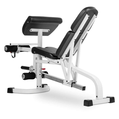 Image of XMark FID Flat Incline Decline Weight Bench with Leg Extension and Preacher Curl XM-4419-WHITE - FitnessGearUSA.Com