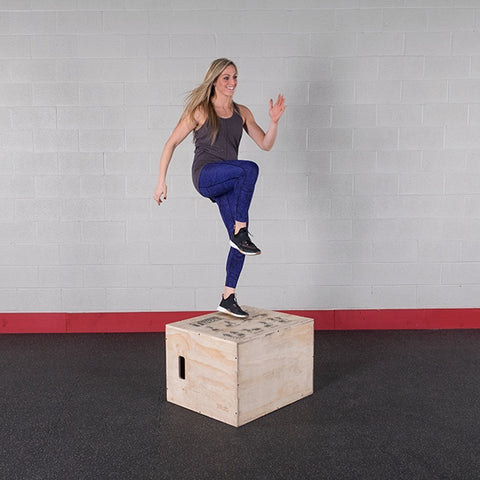 "3 Way Wooden Plyo Box, 20"", 24"", 30"" - Fitness Gear"